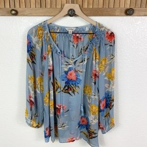 Lucky Brand Blue Floral V-Neck Peasant Top